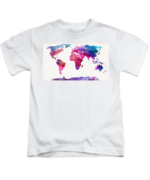 World Map Light  Kids T-Shirt by Mike Maher