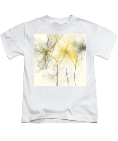 Yellow And Gray Flowers Impressionist Kids T-Shirt
