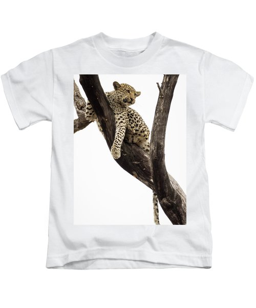 Young Leopard Panthera Pardus In Tree Kids T-Shirt