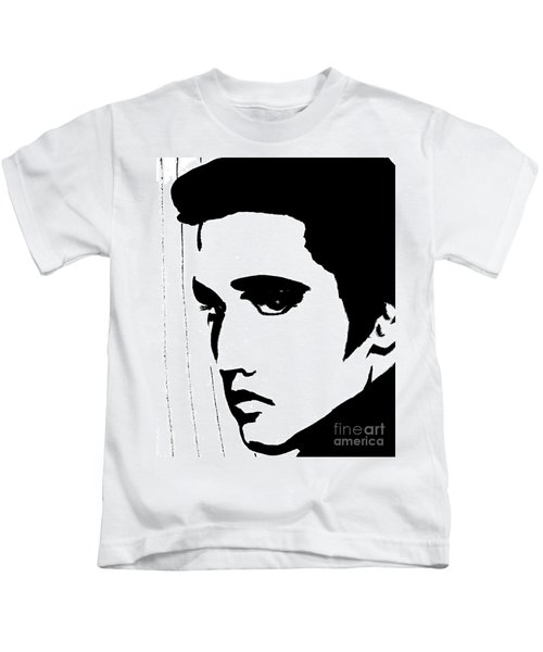 Elvis In Black And White Kids T-Shirt