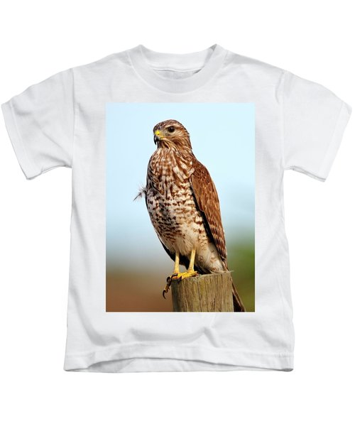 Portrait Of A Red Shouldered Hawk Kids T-Shirt