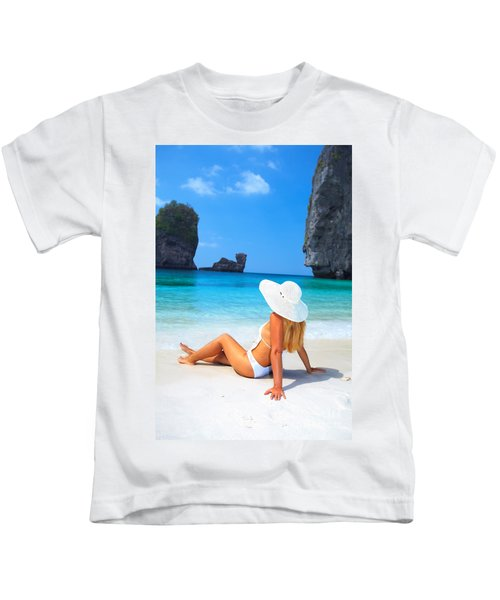 Woman On The Beach Kids T-Shirt