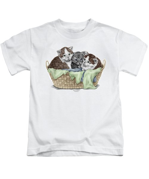 Basket Of Kittens - Cats Art Print Color Tinted Kids T-Shirt
