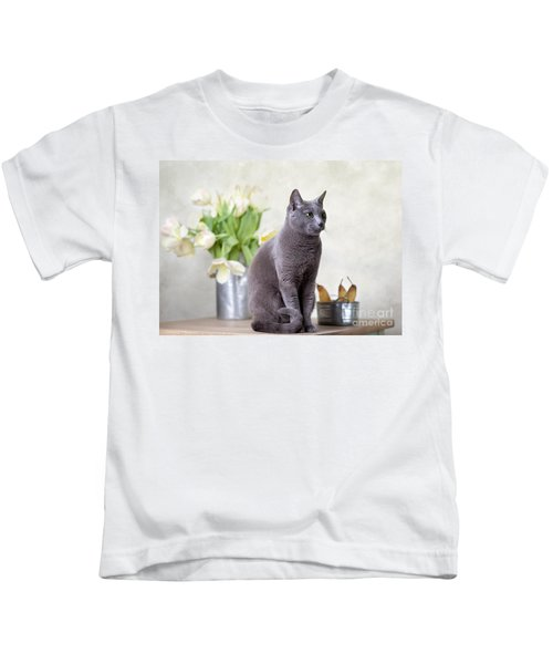 Cat And Tulips Kids T-Shirt