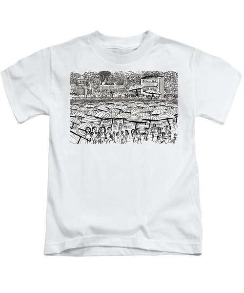 Crowded Beach Black And White Kids T-Shirt