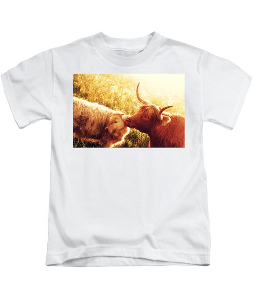 Fenella With Her Daughter. Highland Cows. Scotland Kids T-Shirt