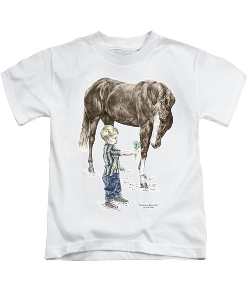 Getting To Know You - Boy And Horse Print Color Tinted Kids T-Shirt