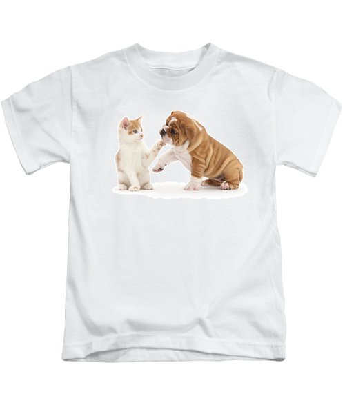 Ginger Kitten With Bulldog Pup Kids T-Shirt