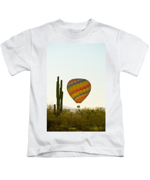Hot Air Balloon In The Arizona Desert With Giant Saguaro Cactus Kids T-Shirt