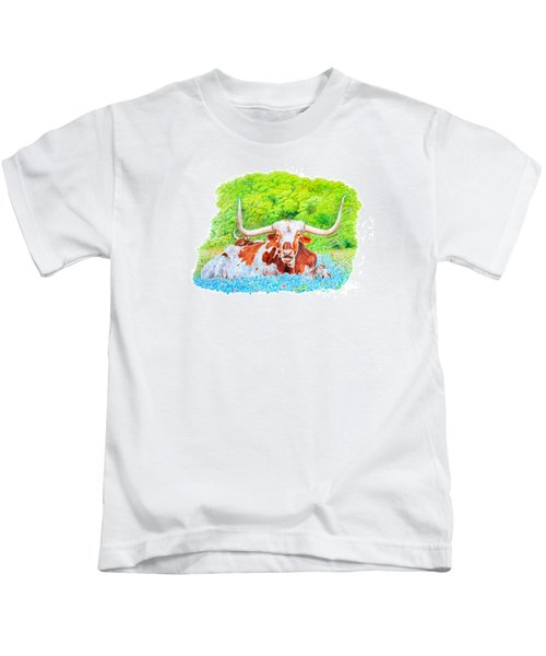 Longhorns In Bluebonnets Kids T-Shirt