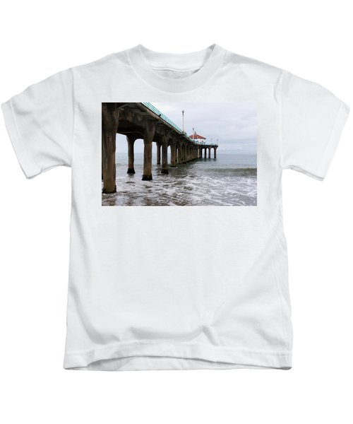 Manhattan Beach Pier Kids T-Shirt
