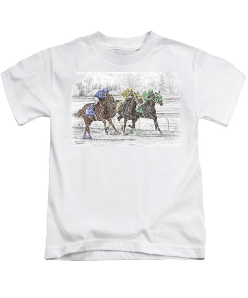 Neck And Neck - Horse Race Print Color Tinted Kids T-Shirt