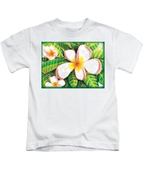 Plumeria With Foliage Kids T-Shirt