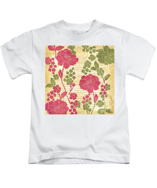 Raspberry Sorbet Floral 1 Kids T-Shirt by Debbie DeWitt