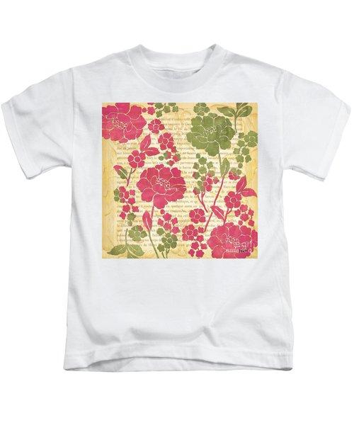 Raspberry Sorbet Floral 2 Kids T-Shirt by Debbie DeWitt