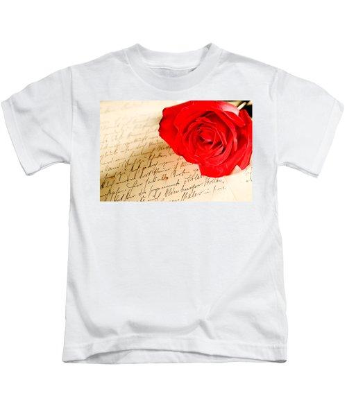 Red Rose Over A Hand Written Letter Kids T-Shirt