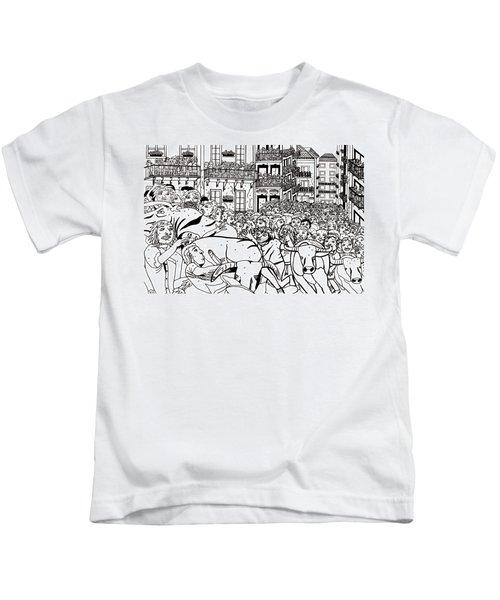 Running Of The Bulls 3 Kids T-Shirt