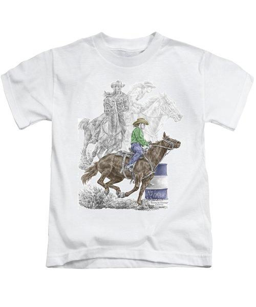 Running The Cloverleaf - Barrel Racing Print Color Tinted Kids T-Shirt