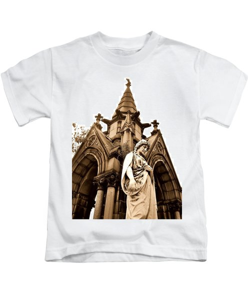 Sepia - Forrest Lawn Cemetery - Buffalo New York Kids T-Shirt