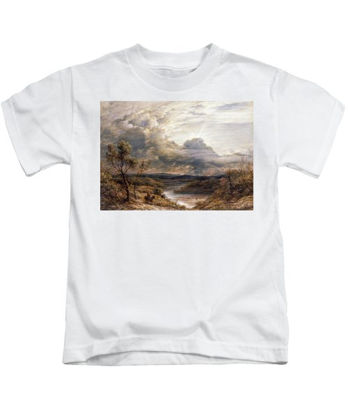Sun Behind Clouds Kids T-Shirt by John Linnell