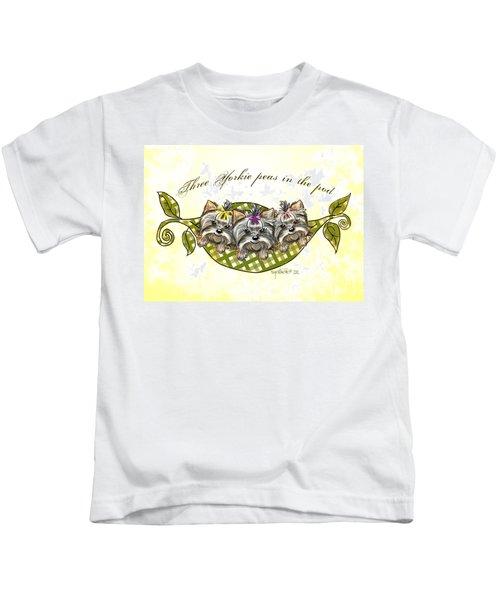 Three Yorkie Peas In The Pod Kids T-Shirt