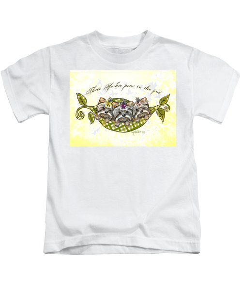 Three Yorkie Peas In The Pod Kids T-Shirt