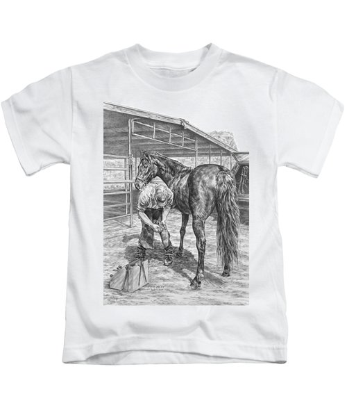 Trim And Fit - Farrier With Horse Art Print Kids T-Shirt