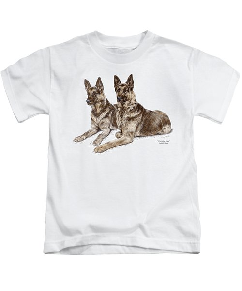 Two Of A Kind - German Shepherd Dogs Print Color Tinted Kids T-Shirt