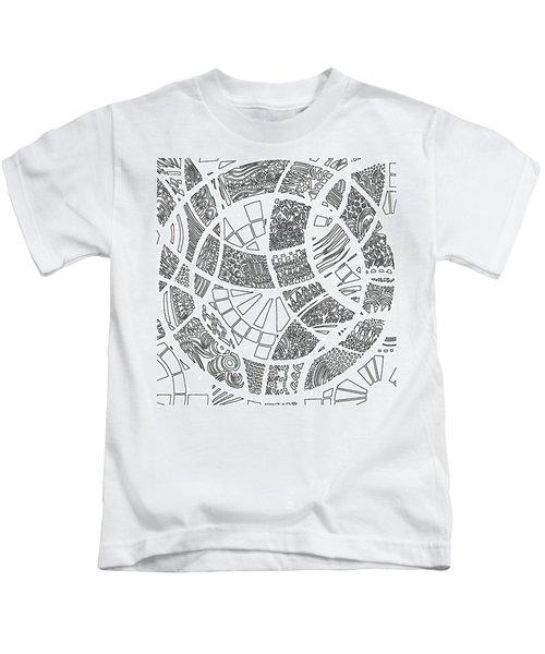 White Doodle Circles Kids T-Shirt