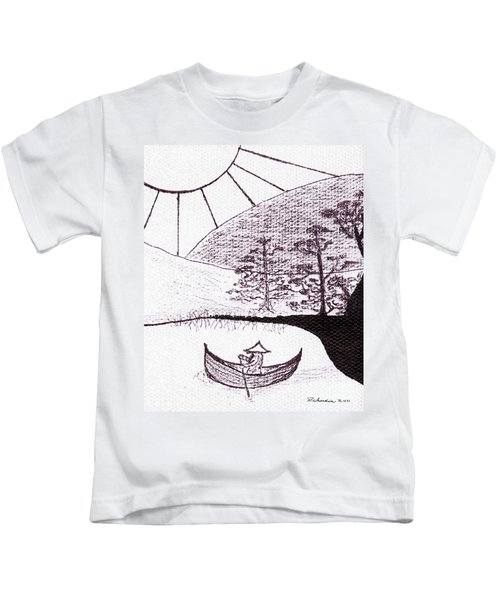 Zen Sumi Asian Lake Fisherman Black Ink On White Canvas Kids T-Shirt