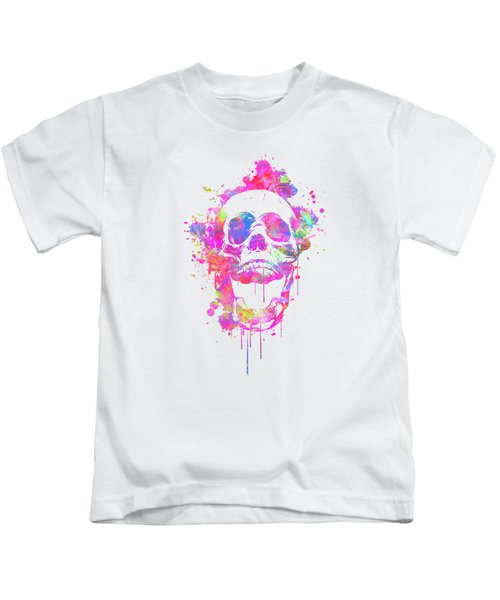 Cool And Trendy Pink Watercolor Skull Kids T-Shirt