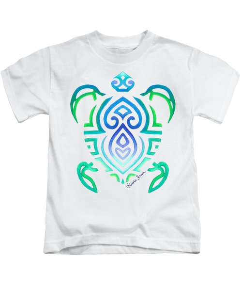 Tribal Turtle Kids T-Shirt by Heather Schaefer