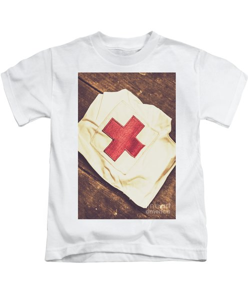 Antique Nurses Hat With Red Cross Emblem Kids T-Shirt