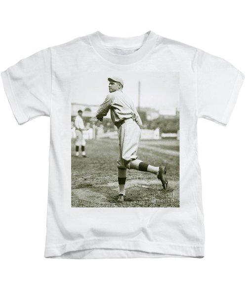 Babe Ruth Pitching Kids T-Shirt