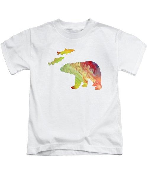 Bear And Salmon Kids T-Shirt