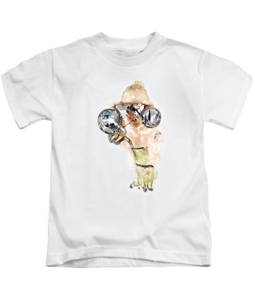 Blond Woman With Binoculars  Kids T-Shirt