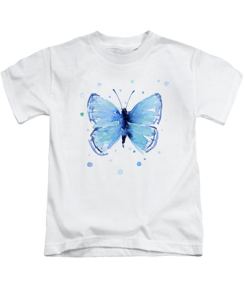 Blue Abstract Butterfly Kids T-Shirt