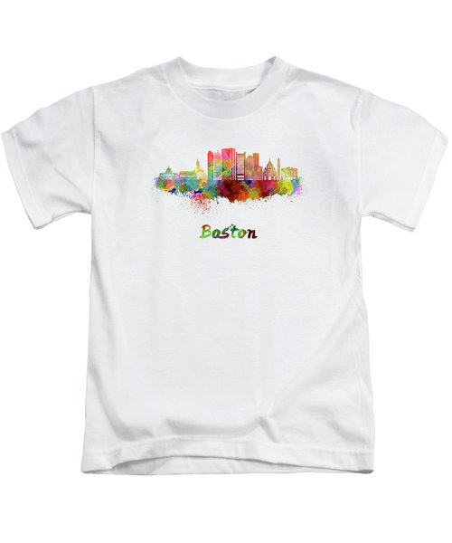 Boston Skyline In Watercolor Kids T-Shirt