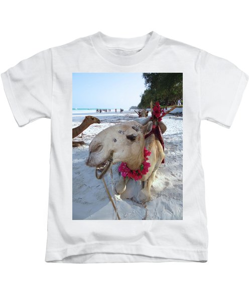 Camel On Beach Kenya Wedding3 Kids T-Shirt