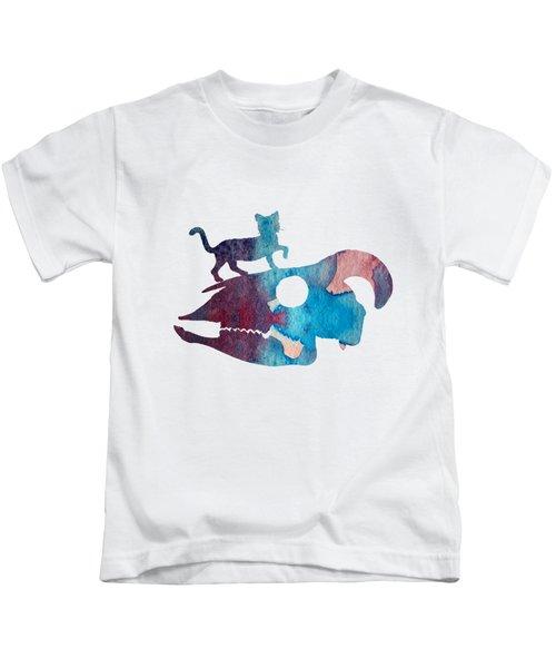 Cat On Goat Skull Kids T-Shirt