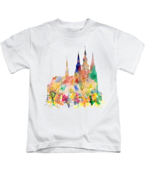 Cathedral Of Saint Vitus In The Prague Castle Watercolor Art Kids T-Shirt