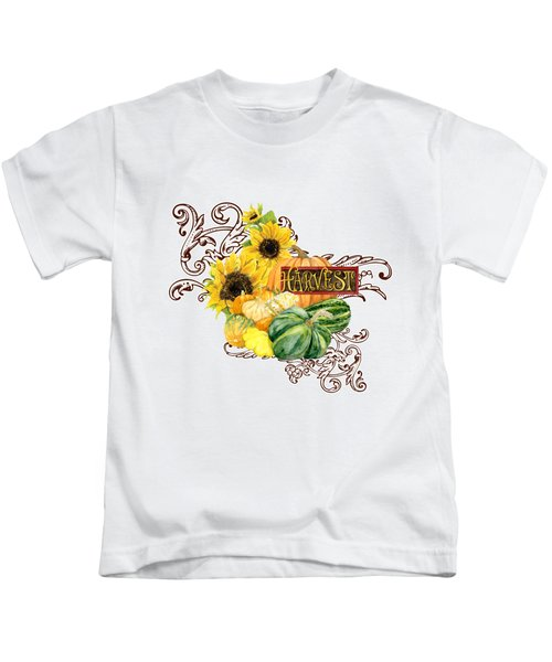 Celebrate Abundance - Harvest Fall Pumpkins Squash N Sunflowers Kids T-Shirt