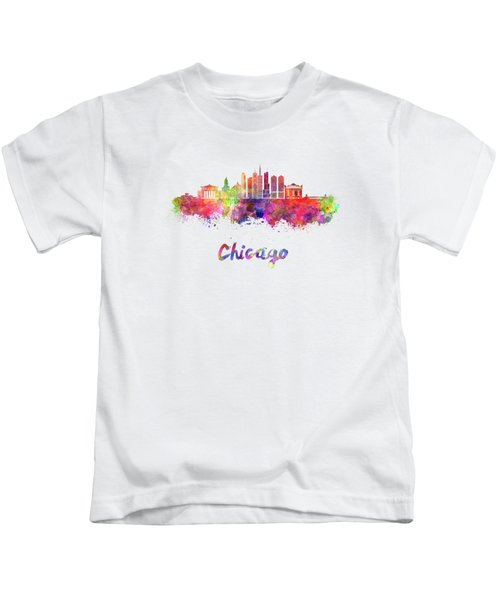 Chicago Skyline In Watercolor Kids T-Shirt by Pablo Romero
