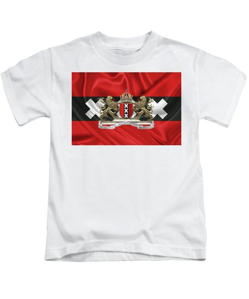 Coat Of Arms Of Amsterdam Over Flag Of Amsterdam Kids T-Shirt