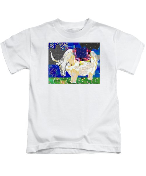 Stay Curious Cow Collage  Kids T-Shirt by Claudia Schoen