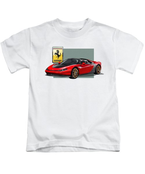 Ferrari Sergio With 3d Badge  Kids T-Shirt