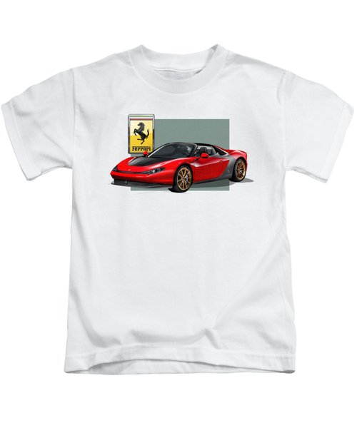 Ferrari Sergio With 3d Badge  Kids T-Shirt
