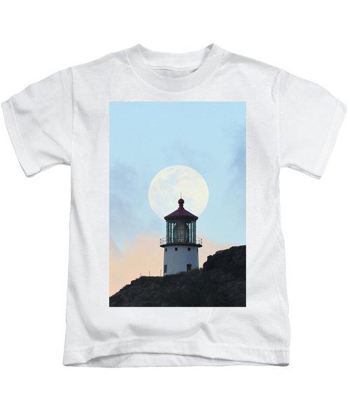 Full Moon Over Makapu'u Light Kids T-Shirt
