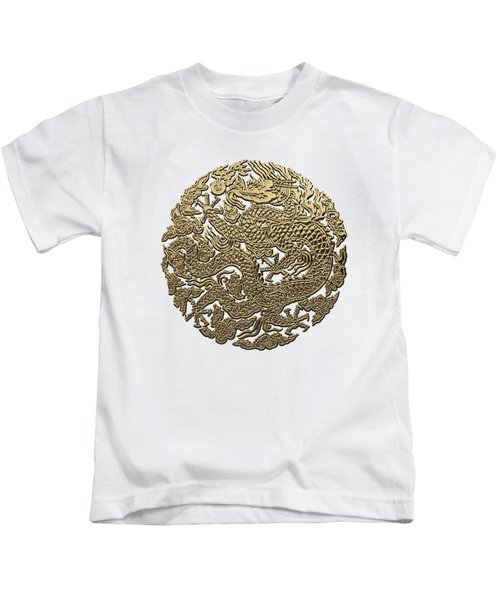 Golden Chinese Dragon White Leather  Kids T-Shirt