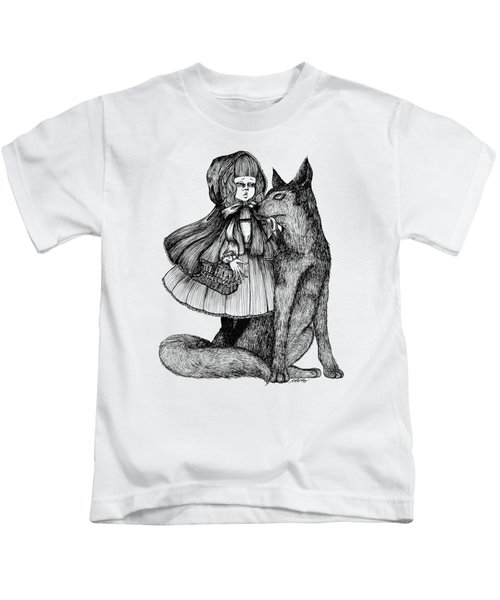 Little Red Riding Hood Kids T-Shirt by Akiko Okabe